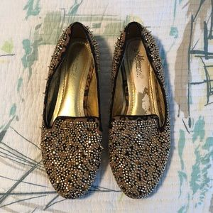 Gold Cheetah print studded Loafers